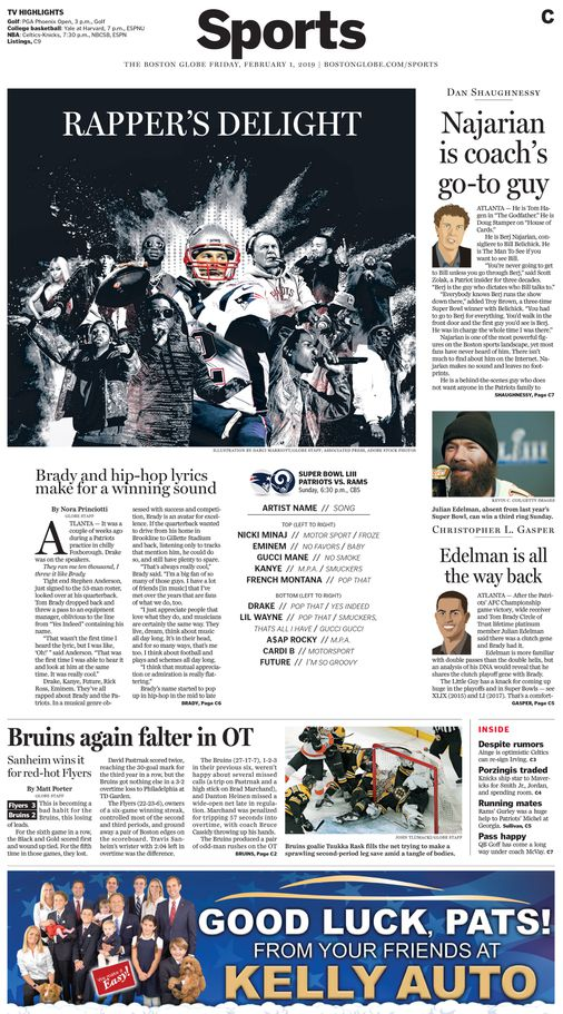 Friday's Globe sports section front page - The Boston Globe