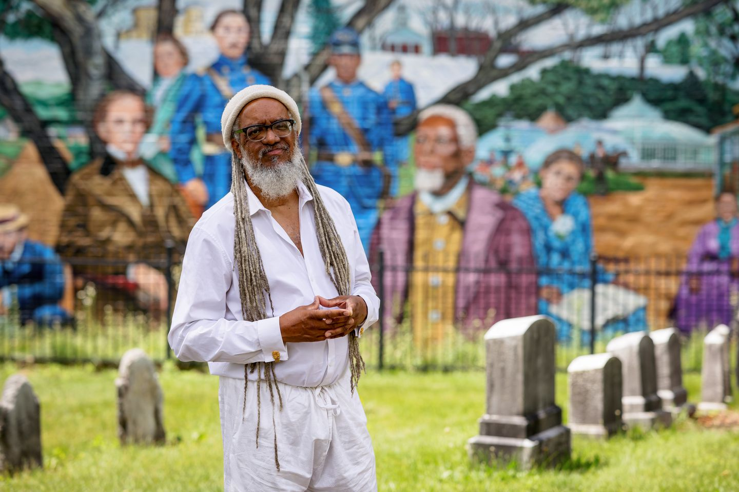 Amilcar Shabazz, an Africana studies professor at the University of Massachusetts Amherst, pictured in West Cemetery in Amherst. Some African American soldiers who fought in Texas during the Civil War are buried in the cemetery. Shabazz helped bring the Juneteenth holiday to Massachusetts.