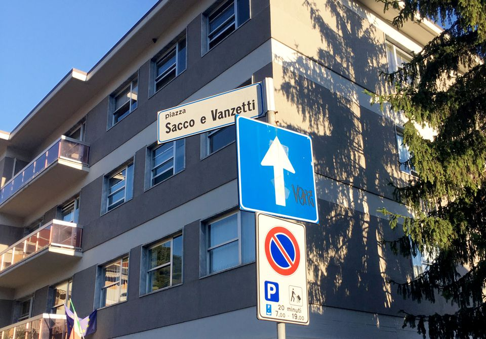 A sign marks the spot of Sacco and Vanzetti Piazza.