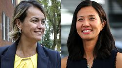 Councilors Annissa Essaibi George and Michelle Wu.