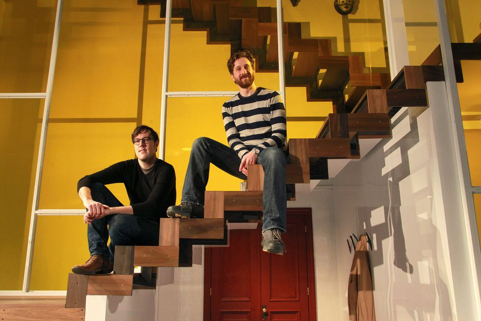 """Scenic designer Dane Laffrey (left) and director Daniel Goldstein on the """"God of Carnage'' set. The onstage environment """"has to be completely perfect,'' Laffrey says."""