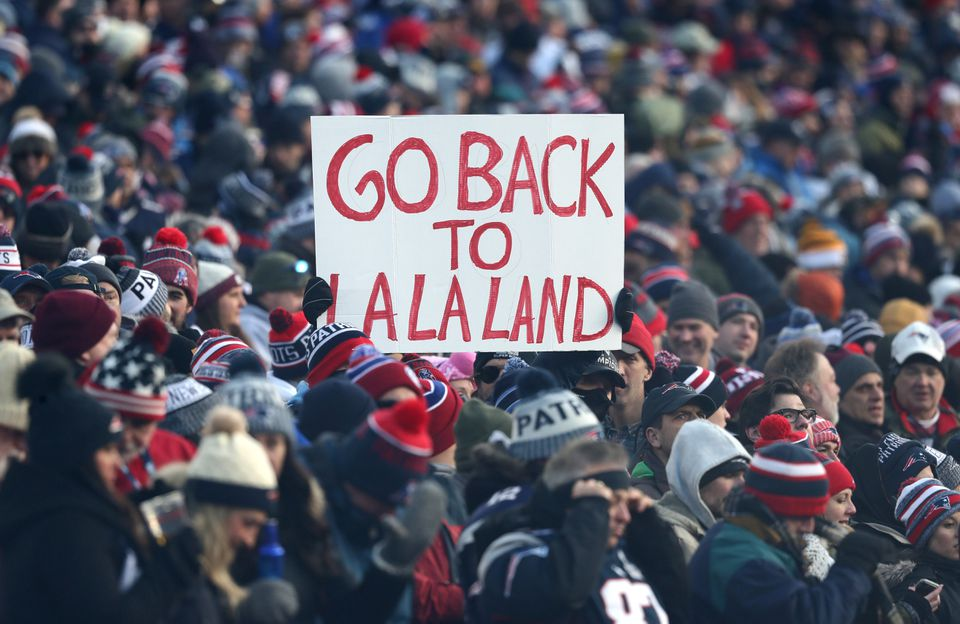 Patriots fans also sent a message to the Chargers in the third quarter.