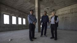 In this Tuesday, April 18, 2017 file photo, Chaim Erez, left, Zvi Kan-Tor, center, and Yitzhak Arad stood inside the unfinished museum honoring Jewish World War II veterans, in Latrun, Israel. Arad, a Holocaust survivor and scholar who was the director of Israel's Yad Vashem Holocaust memorial for more than two decades, has died at the age of 94.