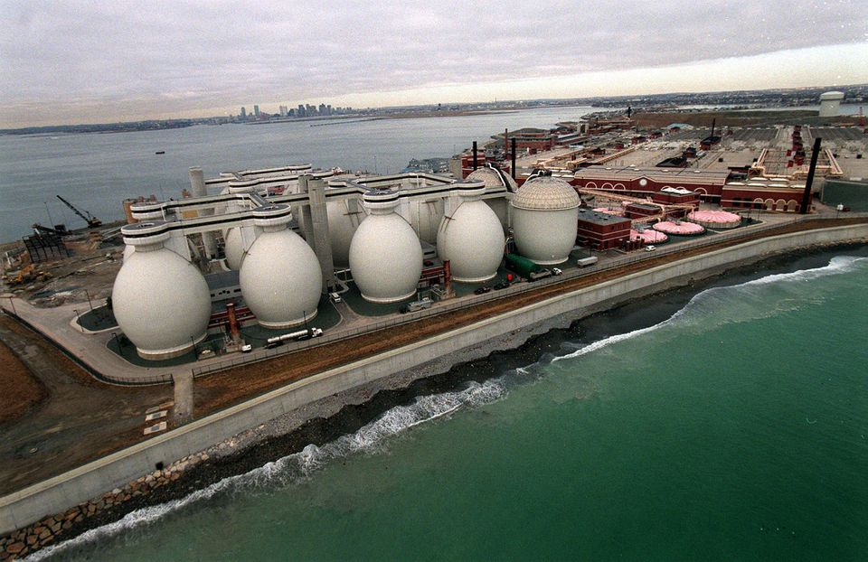 The Deer Island Sewage Treatment Plant processes about 350 million gallons of wastewater a day.