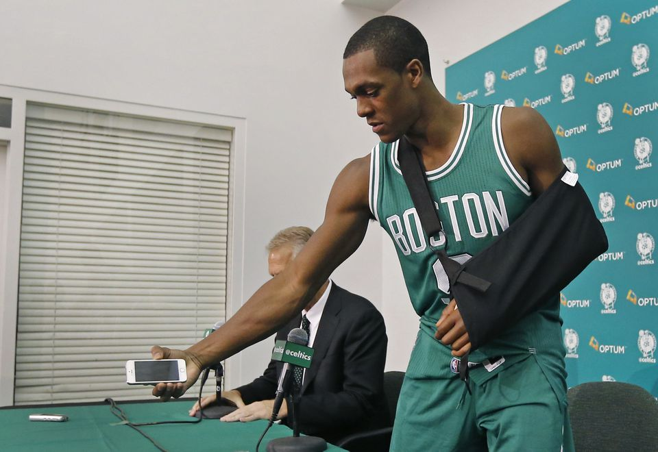 Rondo picked up his cellphone after taking questions from reporters.