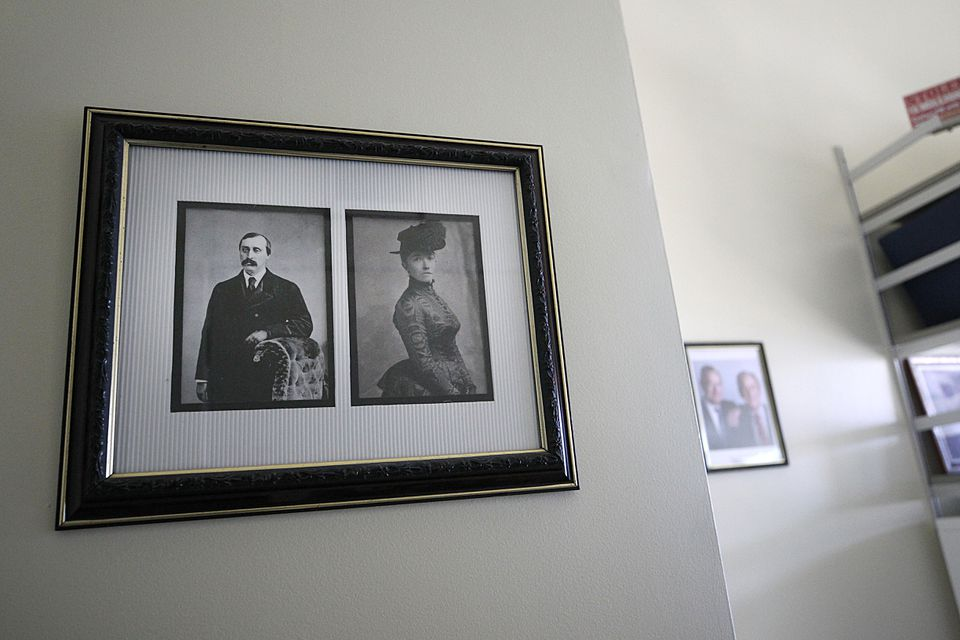 A framed photos of Isabella and Jack Gardner in Anthony Amore's office.