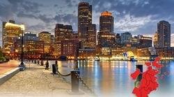 Boston skyline at night