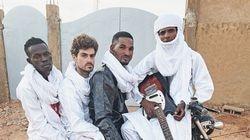 Mdou Moctar (in black), with bandmates (from left) Souleymane Ibrahim, Mikey Coltun, and Ahmoudou Madassane.
