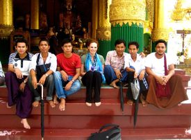 Zaikis and others at the Shwedagon Pagoda in Yangon, Myanmar, which Zaikis visited in 2011.