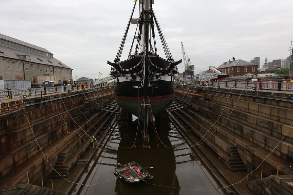 The Constitution entered dry dock in Charlestown on Monday night.