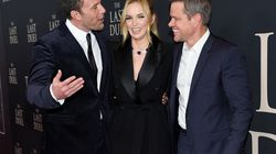 """Ben Affleck (left), Jodie Comer, and Matt Damon at the premiere of """"The Last Duel"""" at Rose Theater at Jazz at Lincoln Center on Oct. 9, 2021, in New York."""