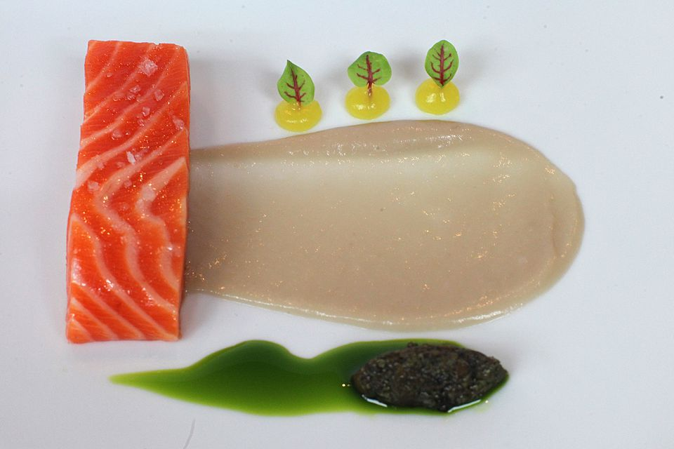 Coral ocean trout with orange blossom gel and fermented soybeans.