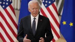 President Biden spoke with the media as he arrived for the EU-US summit at the European Council building in Brussels on Tuesday.