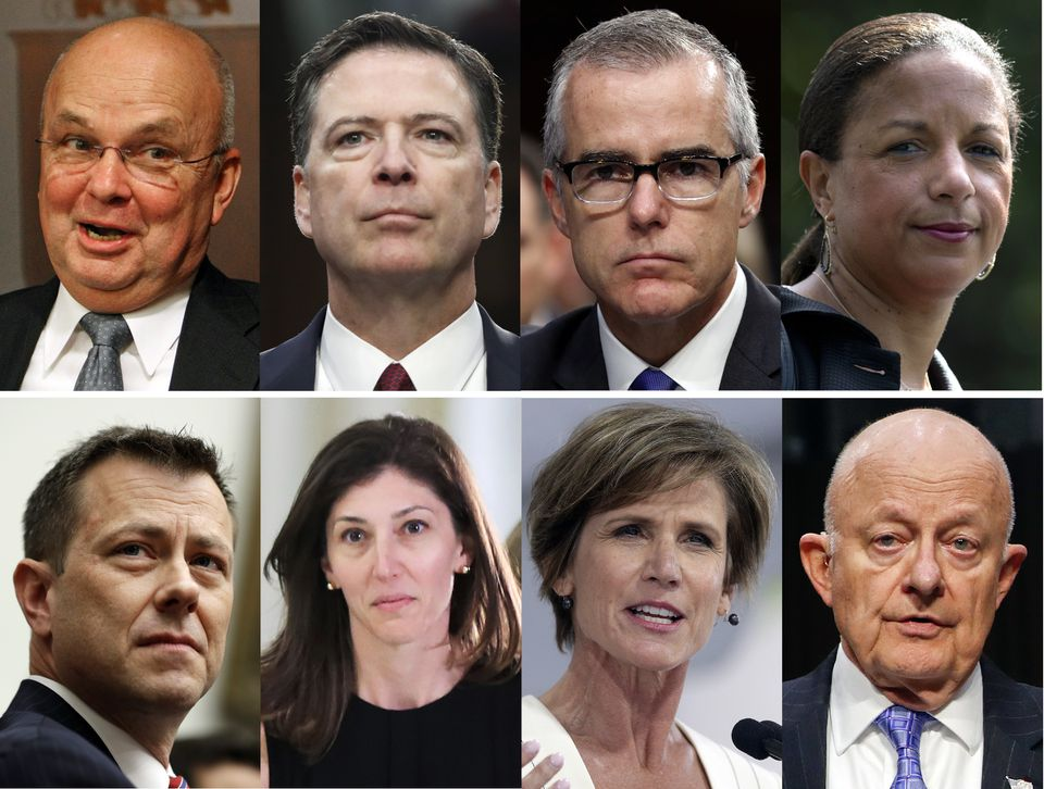 Top row from left, Michael Hayden, James Comey, Andrew McCabe, and Susan Rice. Bottom row from left, Peter Strzok, Lisa Page, Sally Yates, James Clapper.