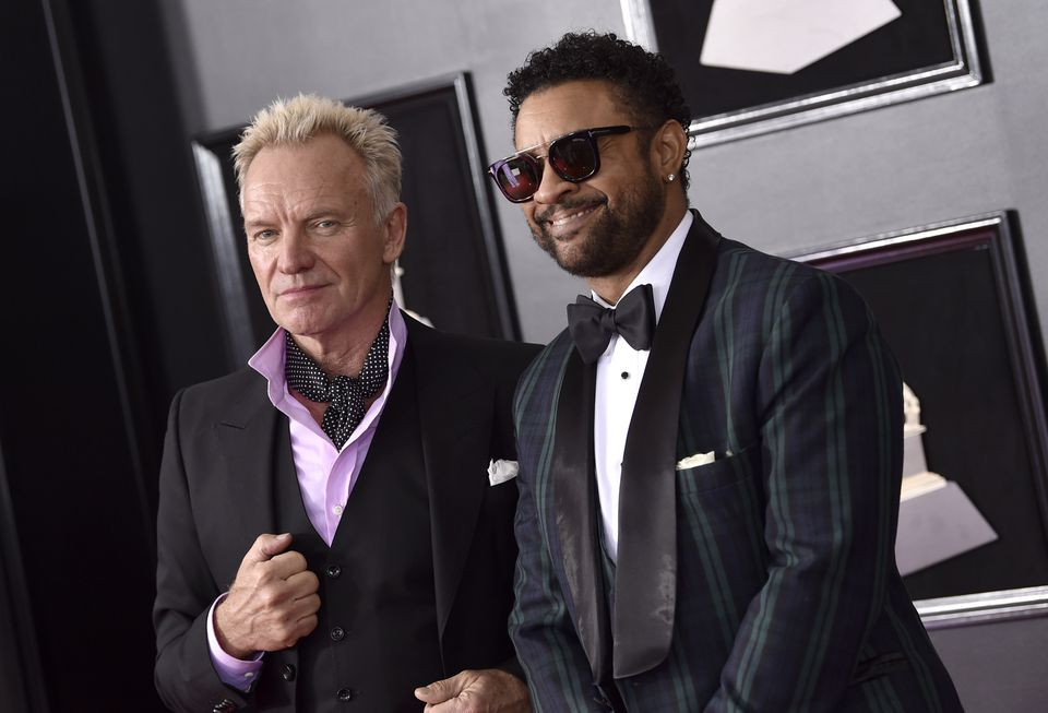 Sting, left, and Shaggy posed for photos.