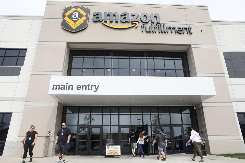 "The exterior of Amazon's Fall River ""fulfillment center."""
